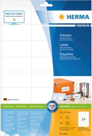 Etiket Herma 8644 70x37mm premium wit 240stuks