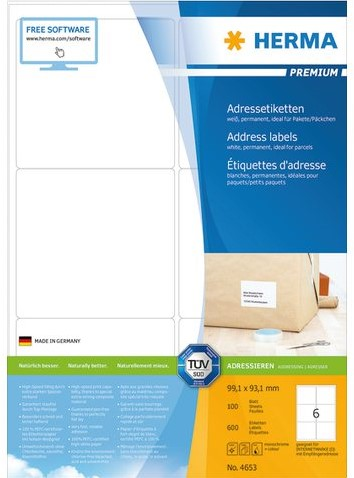 Etiket Herma 4653 99.1x93,1mm premium wit 600stuks