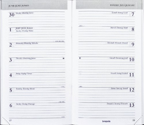Agenda 2022 Brepols Breplan 7dag/1pagina Genova zwart