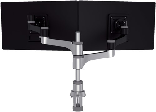Monitorarm R-Go-Tools Zepher 4 voor 2 schermen zilvergrijs
