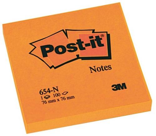 Memoblok 3M Post-it 654 76x76mm neon oranje