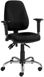 Asta bureaustoel - verchroomd voetkruis - gestoffeerde rug en zitting zwart - kantelmechaniek