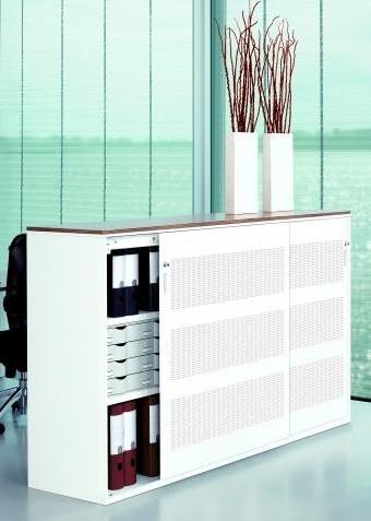 M-store schuifdeurkast wit - 200b x 120h x 50d - perforatie patroon - legbord/uitrekframe
