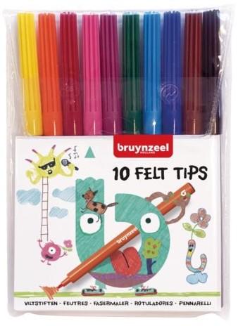 Bruynzeel  viltstiften felt tips dunne stift schooletui 10 kleuren