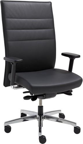 Tica 24 uurs stoel - zwart leder - gepolijst voetkruis - multi armleggers