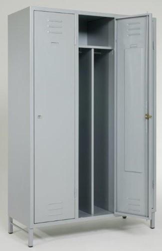 Garderobekast 3 delig 1 hoog - 185hx120bx50d - scheidingswand - plint - hangslot