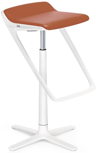 Interstuhl Kinetic 710K barkruk met voetensteun wit - zitting leder Ascot