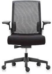 ASIS Match bureaustoel - Mesh rugleuning donkergrijs - zitting zwart stof - 4D armleggers - zwart voetkruis - frame zilver