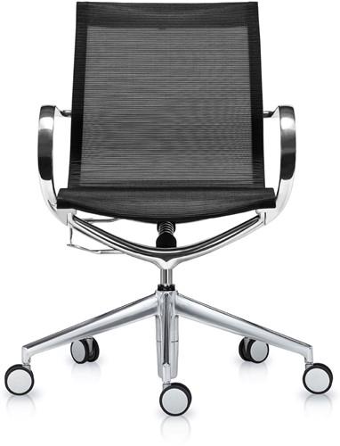 ASIS Mercury bezoekers/werk stoel lage rug - frame alu gepolijsd - 3Dmesh zwart
