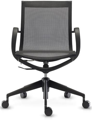 ASIS Mercury bezoekers/werk stoel lage rug - frame nylon zwart - 2Dmesh zwart