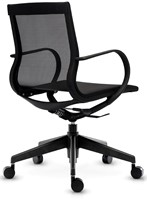 ASIS Mercury bezoekers/werk stoel lage rug - frame nylon zwart - 2Dmesh zwart-3