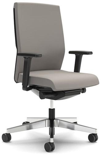 Yos Enjoy bureaustoel, lucia stoffering, frame zilver zitdiepte, lendensteun, armleuningen